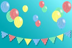 Multi-colored flags and balloons. Multi-colored flags and helium balloons. Vector illustration EPS10 Stock Image