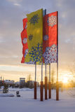 Multi-colored flags, with painted snowflakes in Royalty Free Stock Images