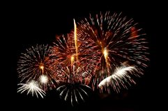 Multi-colored flashes of festive salute fireworks Royalty Free Stock Photography