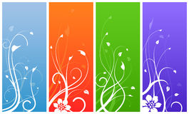 Multi colored floral designs. Floral designs on colored backgrounds Royalty Free Stock Image