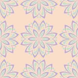 Multi colored floral seamless pattern. Beige background with violet and blue flower elements. For wallpapers, textile and fabrics Stock Photo