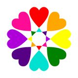 Multi-colored flower from LGBT hearts. Logo concept suitable for Valentine`s Day love or LGBT parties, . royalty free illustration