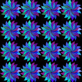 Multi-colored flowers with leaves.  abstract colorful  flower. Multi-colored flowers with leaves. on black background. Pattern vivid wrapping paper. abstract Stock Photography