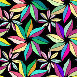 Multi-colored flowers with leaves. On black background. pattern vivid wrapping paper from the multi-colored leaves Stock Photos
