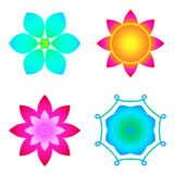 Multi-colored flowers, lotus set Royalty Free Stock Image