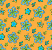 Multi Colored flowers, on a orange background stock images