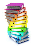 Multi colored folders stack. 3D illustration. Multi colored folders stack isolated on white background. 3D illustration Stock Photo