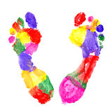 Multi Colored footprints Stock Photography