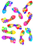 Multi Colored footprints Royalty Free Stock Image