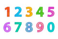 Multi colored freehand drawn numbers from one to zero. Outlines with lines in even distances, filled out with coordinated bright colors. Illustration. Isolated Stock Photos