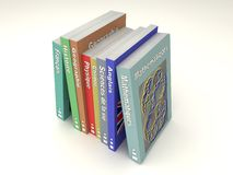 Multi-colored french school books line Stock Photo
