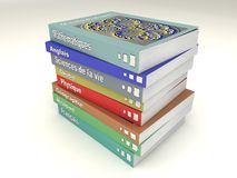 Multi-colored french school books stack. Of many matter stock illustration