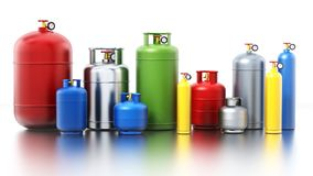 Multi-colored gas cylinders isolated on white background. 3D illustration.  Royalty Free Stock Image