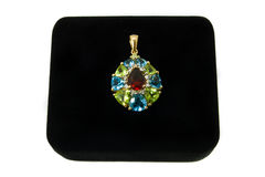 Multi-colored gemstone pendant Royalty Free Stock Photography