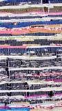 Multi-colored gestreepte die Mat van katoenen stof wordt gemaakt stock afbeeldingen
