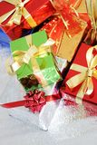 Multi-colored gift boxes Stock Images