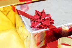 Multi-colored gift boxes Stock Photo