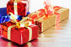 Multi-colored gift boxes Royalty Free Stock Images