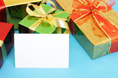 Multi-colored gift boxes Royalty Free Stock Image