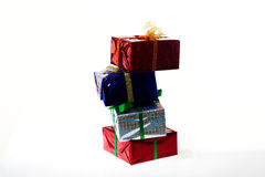 Multi-colored gift boxes on white background Stock Photo