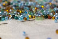 Multi-colored glass beads for embroidery Stock Photography