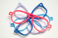 Multi-colored glasses and frames stock image