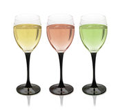 Multi-colored glasses of wine. Stock Images