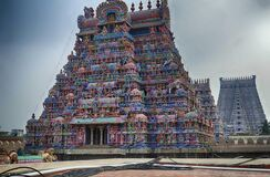 Free Multi Colored Gods And Goddesses Adorn The Gopuram Stock Photos - 170045333