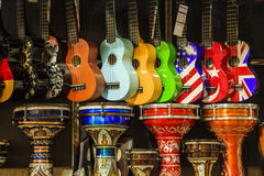 Multi-colored guitar and drums. Royalty Free Stock Photos