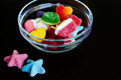 Multi-colored gummy candies in the bowl Royalty Free Stock Images
