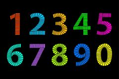 Multi colored hand drawn numbers made of lines over black. Multi colored hand drawn numbers made of lines in even distances. From one to zero in coordinated Stock Photos