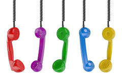 Multi colored handset in the row Stock Photo