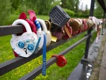 Multi-colored hangsloten met sleutels in de rivier worden geworpen die royalty-vrije stock foto