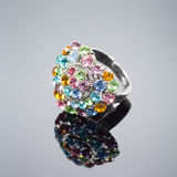 Multi colored heart shaped diamond ring Royalty Free Stock Photography