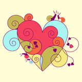 Multi-colored heart with snails Stock Image