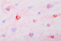 Multi-colored hearts drawn pastel on white paper Royalty Free Stock Photo