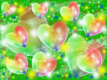 Colorful abstract hearts. Multi-colored hearts flying on a green background Royalty Free Stock Photos