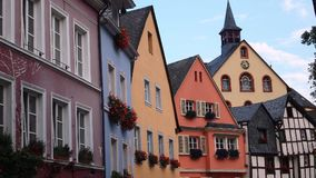Small village in Germany with pastel-colored buildings. Multi-colored historical architecture and homes in Europe Stock Photography