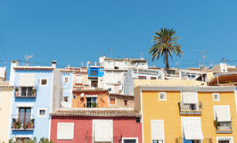 Multi-colored homes of La Vila Joiosa, Costa Blanca Spain. Royalty Free Stock Photos