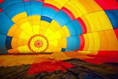 Multi colored hot air balloon view from inside Royalty Free Stock Images