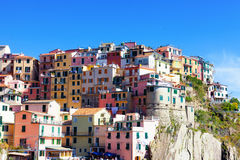 Multi-colored houses in Manarol's fishing small village Royalty Free Stock Photography