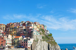Multi-colored houses in Manarol's fishing small village Stock Photography