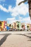 Multi-colored huizen van La Vila Joiosa, Costa Blanca Spain stock afbeelding