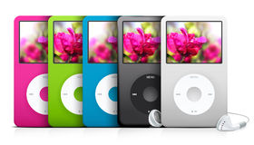 Multi colored ipod music players. Illustration with collection of multi colored ipod music player devices Stock Images