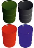 Multi-colored iron barrels Stock Images