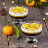 Multi-colored jelly with tangerines, chocolate and pistachios Royalty Free Stock Image