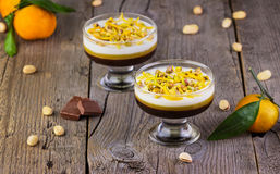 Multi-colored jelly with tangerines, chocolate and pistachios Royalty Free Stock Photography