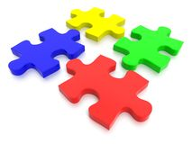 Multi Colored Jigsaw Puzzle Pieces. 3D rendered Jigsaw Puzzle concept, depicting teamwork and connection Royalty Free Stock Image