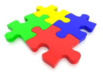 Multi Colored Jigsaw Puzzle Pieces. 3D rendered Jigsaw Puzzle concept, depicting teamwork and connection Stock Photo