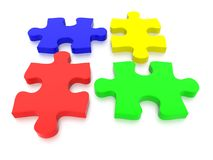 Multi Colored Jigsaw Puzzle Pieces. 3D rendered Jigsaw Puzzle concept, depicting teamwork and connection Stock Photos